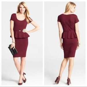 🌸HP🌸 Ann Taylor Burgundy Peplum Dress